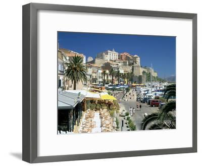 Restaurants in the Old Port with the Citadel in the Background, Calvi, Corsica-Peter Thompson-Framed Photographic Print