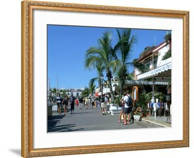Tourists Checking Out a Restaurant Menu, Puerto De Mogan, Gran Canaria, Canary Islands-Peter Thompson-Framed Photographic Print
