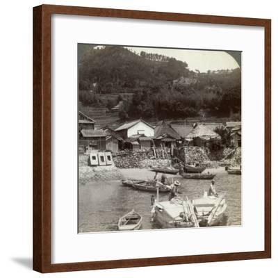 Fishing Village of Obatake on the Inland Sea, Looking North to the Terraced Rice Fields, Japan-Underwood & Underwood-Framed Photographic Print