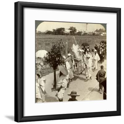 Funeral Procession of a Rich Buddhist, on the Road to Sakai, Looking Towards Osaka, Japan, 1904-Underwood & Underwood-Framed Photographic Print