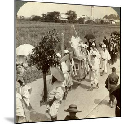 Funeral Procession of a Rich Buddhist, on the Road to Sakai, Looking Towards Osaka, Japan, 1904-Underwood & Underwood-Mounted Photographic Print