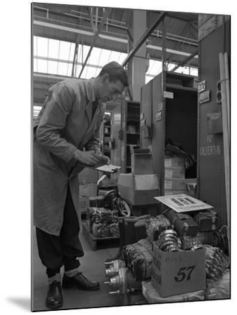 Warehouseman Checking Stock in the Stores at Bestwood Colliery, North Nottinghamshire, 1962-Michael Walters-Mounted Photographic Print