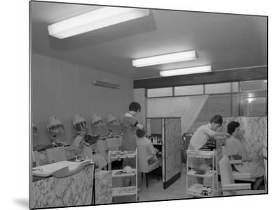 Hairdressers at Work, Armthorpe, Near Doncaster, South Yorkshire, 1961-Michael Walters-Mounted Photographic Print