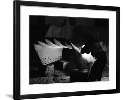 Welding a Dragline Bucket, Edgar Allen Steel Co, Sheffield, South Yorkshire, 1962-Michael Walters-Framed Photographic Print