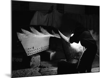 Welding a Dragline Bucket, Edgar Allen Steel Co, Sheffield, South Yorkshire, 1962-Michael Walters-Mounted Photographic Print