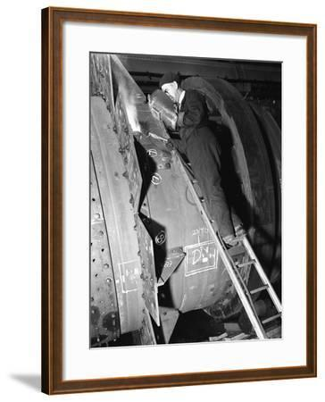 Welding an Industrial Drying Unit, Edgar Allen Steel Co, Sheffield, South Yorkshire, 1962-Michael Walters-Framed Photographic Print