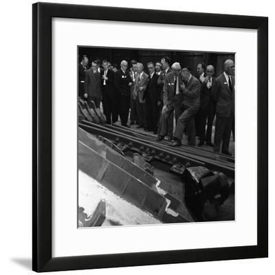 Inspecting a Tram Junction, Made at the Edgar Allen Steel Foundry, Meadowhall, Sheffield, 1962-Michael Walters-Framed Photographic Print