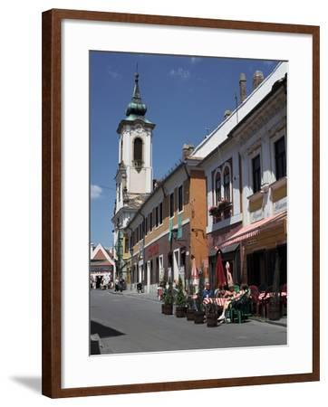 Café and Church, Szentendre, Hungary-Peter Thompson-Framed Photographic Print