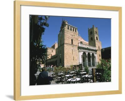 Cathedral and Cafe, Monreale, Sicily, Italy-Peter Thompson-Framed Photographic Print