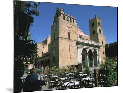 Cathedral and Cafe, Monreale, Sicily, Italy-Peter Thompson-Mounted Photographic Print