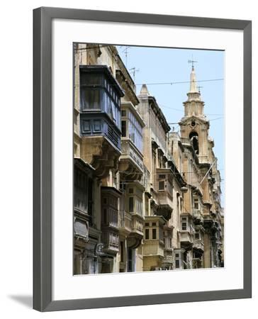 Balconies, St Pauls Street, Valletta, Malta-Peter Thompson-Framed Photographic Print