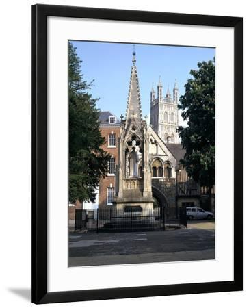 John Hooper Memorial, St Marys Gate and Gloucester Cathedral, Gloucestershire-Peter Thompson-Framed Photographic Print