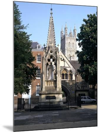 John Hooper Memorial, St Marys Gate and Gloucester Cathedral, Gloucestershire-Peter Thompson-Mounted Photographic Print