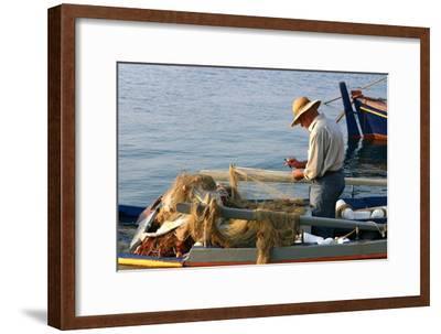 Man on Board a Fishing Boat, Sami, Kefalonia, Greece-Peter Thompson-Framed Photographic Print