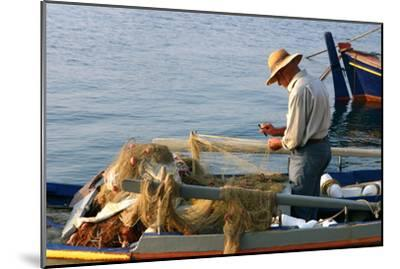 Man on Board a Fishing Boat, Sami, Kefalonia, Greece-Peter Thompson-Mounted Photographic Print