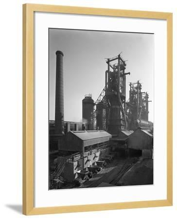 Molten Steel Being Poured into Rail Trucks at the Stanton Steelworks, Ilkeston, Derbyshire, 1962-Michael Walters-Framed Photographic Print