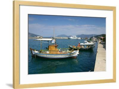 Fishing Boats Moored Alongside the Quay, Sami, Kefalonia, Greece-Peter Thompson-Framed Photographic Print