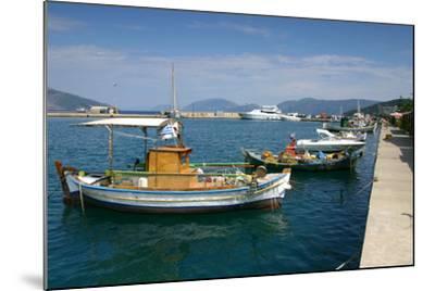 Fishing Boats Moored Alongside the Quay, Sami, Kefalonia, Greece-Peter Thompson-Mounted Photographic Print