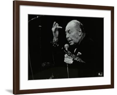 Woody Herman on Stage at the Forum Theatre, Hatfield, Hertfordshire, 24 May 1983-Denis Williams-Framed Photographic Print