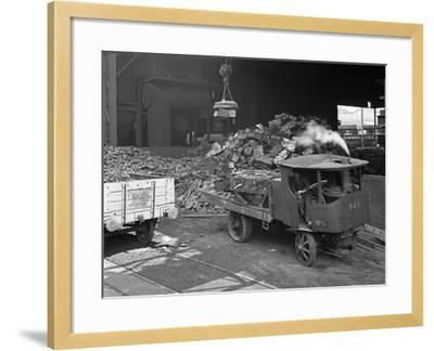 Loading a Steam Wagon with Scrap at a Steel Foundry, Sheffield, South Yorkshire, 1965-Michael Walters-Framed Photographic Print