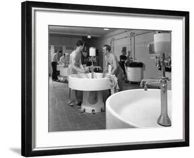 Workers in the Washroom Facility at a Steelworks, Rotherham, South Yorkshire, 1964-Michael Walters-Framed Photographic Print