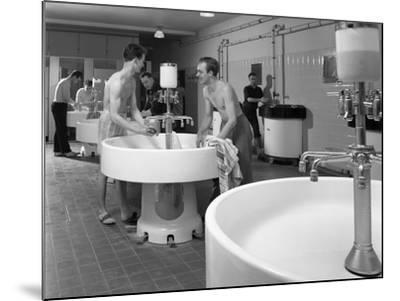 Workers in the Washroom Facility at a Steelworks, Rotherham, South Yorkshire, 1964-Michael Walters-Mounted Photographic Print