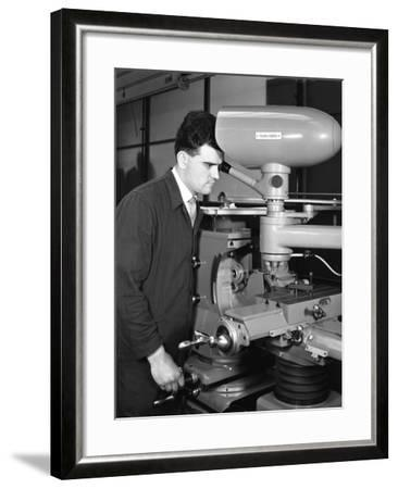 Worker Using a Cutting Machine, Egdar Allen Steel Foundry, Sheffield, South Yorkshire, 1964-Michael Walters-Framed Photographic Print