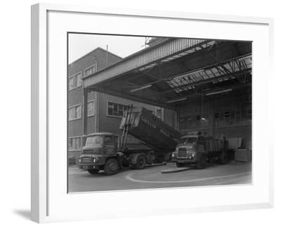 Unloading and Loading Lorries, Spillers Animal Foods, Gainsborough, Lincolnshire, 1961-Michael Walters-Framed Photographic Print