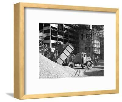 Early 1950S Bedford M Tipper Delivering Aggregates to a Building Site, South Yorkshire, July 1954-Michael Walters-Framed Photographic Print