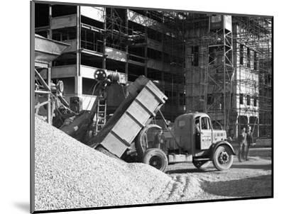 Early 1950S Bedford M Tipper Delivering Aggregates to a Building Site, South Yorkshire, July 1954-Michael Walters-Mounted Photographic Print