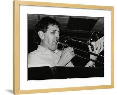 Trombonist Derek Wadsworth Playing at the Fairway, Welwyn Garden City, Hertfordshire, 28 July 1991-Denis Williams-Framed Photographic Print