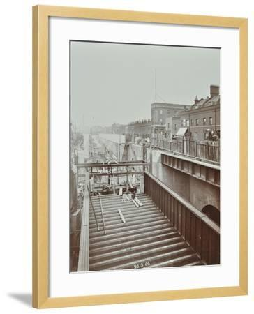 Construction of the Bridge Approach to Rotherhithe Tunnel, Bermondsey, London, 1906--Framed Photographic Print