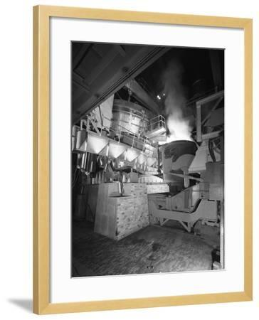 Steel Pour from an Electric Arc Furnace, Park Gate Iron and Steel Co, Rotherham, Yorkshire, 1964-Michael Walters-Framed Photographic Print