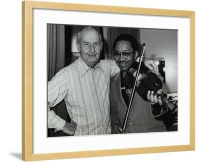 Stephane Grappelli and Claude Fiddler Williams at the Forum Theatre, Hertfordshire, 1980-Denis Williams-Framed Photographic Print