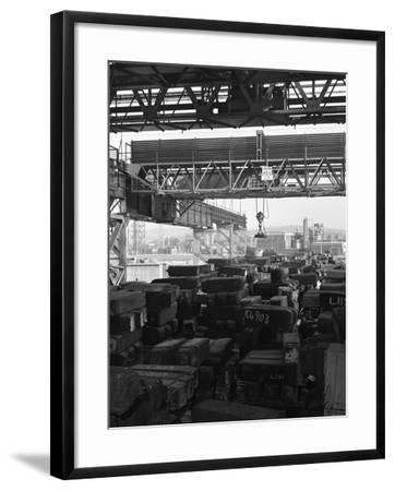 Eectromagnet Above Steel Ingots, Park Gate Iron and Steel Co, Rotherham, South Yorkshire, 1964-Michael Walters-Framed Photographic Print