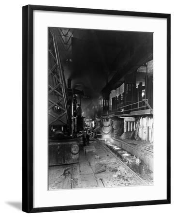 Teeming (Pouring) Molten Steel, Park Gate Iron and Steel Co, Rotherham, South Yorkshire, April 1955-Michael Walters-Framed Photographic Print
