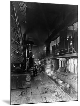 Teeming (Pouring) Molten Steel, Park Gate Iron and Steel Co, Rotherham, South Yorkshire, April 1955-Michael Walters-Mounted Photographic Print
