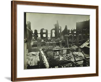 Burnt-Out Building, Concordia Wharf, Poplar, London, 1924--Framed Photographic Print