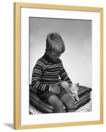 Child with a Cat, 1963-Michael Walters-Framed Photographic Print