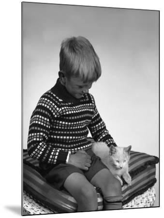 Child with a Cat, 1963-Michael Walters-Mounted Photographic Print
