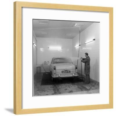A 1961 Austin Westminster in a Car Wash, Grimsby, 1965-Michael Walters-Framed Photographic Print