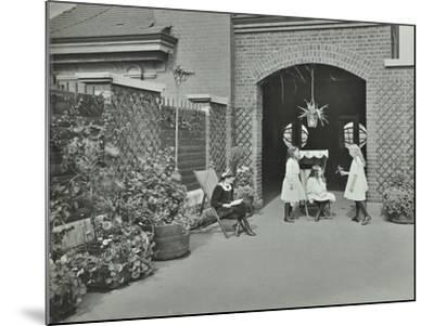 Girls Relaxing in a Roof Top Garden, White Lion Street School, London, 1912--Mounted Photographic Print
