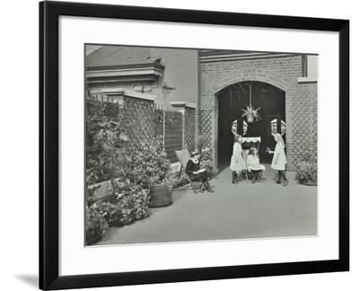 Girls Relaxing in a Roof Top Garden, White Lion Street School, London, 1912--Framed Photographic Print