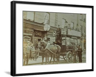 Horse-Drawn Omnibus and Passengers, London, 1900--Framed Photographic Print