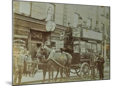Horse-Drawn Omnibus and Passengers, London, 1900--Mounted Photographic Print