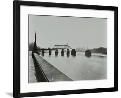 Temporary Bridge over the River Thames Being Dismantled, London, 1948--Framed Photographic Print