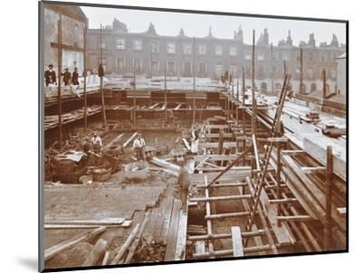 Men Building the Camden Town Sub-Station, London, 1908--Mounted Photographic Print