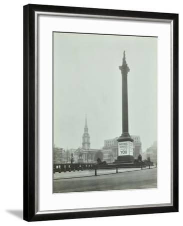 Nelsons Column with National Service Recruitment Poster, London, 1939--Framed Photographic Print