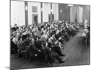 Danish Bacon Sales Team Meeting, Earl of Doncaster Hotel, 1964-Michael Walters-Mounted Photographic Print