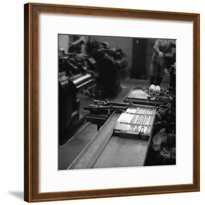 Type Being Set at the White Rose Press, Mexborough, South Yorkshire, 1968-Michael Walters-Framed Photographic Print